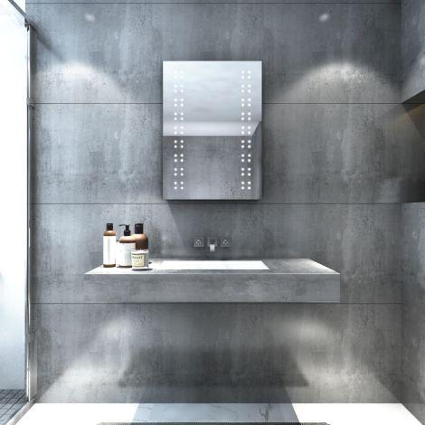 ELEGANT LED illuminated Bathroom Mirror Cabinet 500x700mm IP44 Infrared Sensor Anti-fog