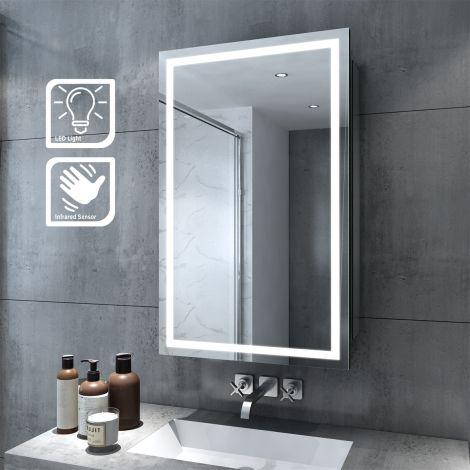 ELEGANT LED illuminated Bathroom Sliding Mirror Cabinet 430x690mm IP44 Infrared Sensor