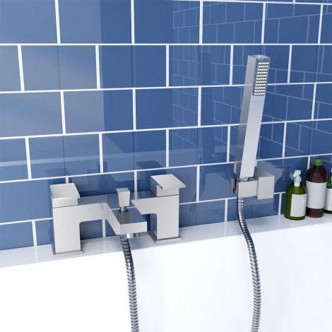 ELEGANT Modern Chrome Waterfall Bath Tap with Shower Mixer Deck Mounted Handheld Shower