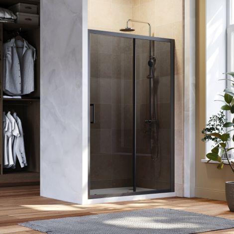 ELEGANT 1100mm Black Sliding Shower Door 8mm Easy Clean Nano Glass Shower Screen