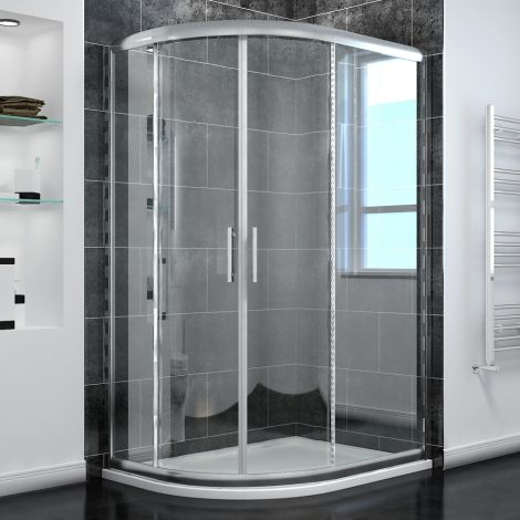 ELEGANT 1000x800mm Left/Right Offset Shower Enclosure 6mm Tempered Glass Set w/ Stone Tray Free Waste