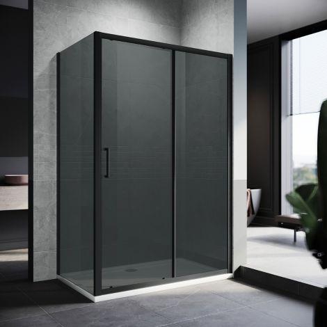 ELEGANT 1100mm Black Sliding Shower Door with side panel 8mm Easy Clean Nano Glass Shower Enclosure