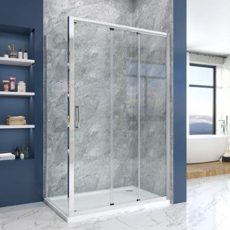 Elegant  1200 x 900mm 3 panel Large Entry Sliding Shower Enclosure