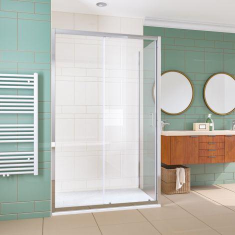 Elegant 1000x700mm Sliding Shower Enclosure 6mm Glass Reversible Cubicle Door Screen Panel + Side Panel