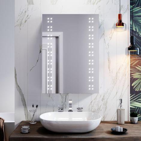 ELEGANT  Vertical LED Mirror Cabinet Bathroom with Demister/Sensor Functional Storage