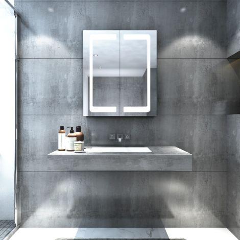LED illuminated Bathroom Dual Mirror Cabinet 600x700mm IP44 Infrared Sensor With Black Edges