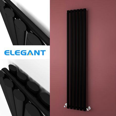 ELEGANT 1800 x 360mm  Gloss Black Single/Double Oval Vertical Designer Radiator