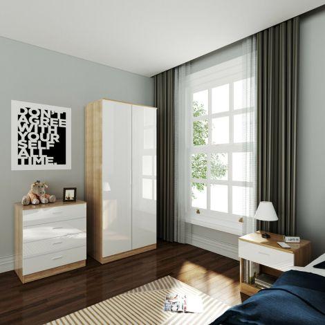 Elegant Scandinavia White & Oak Effect 3 Piece 2 Door Wardrobe Package