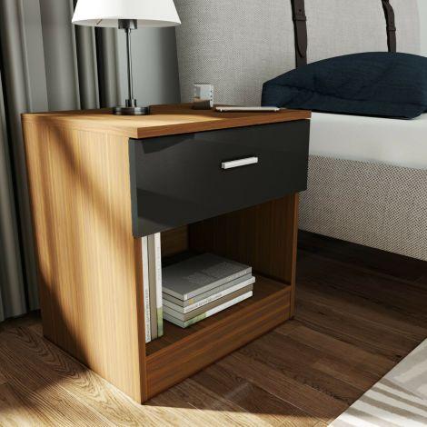 Elegant Malibu Gloss Black & Walnut Effect Bedside Cabinet