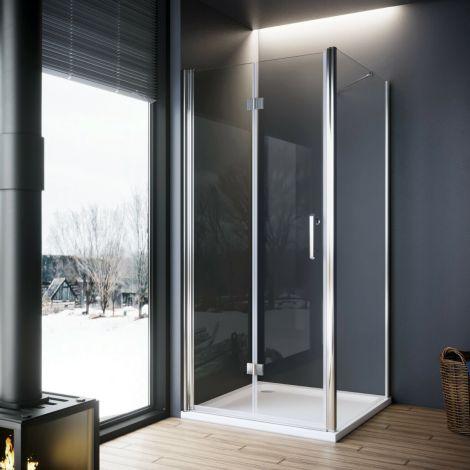 Elegant 1000x700mm Frameless Bifold Hinged Shower Enclosure 6mm Tempered Glass Cubicle