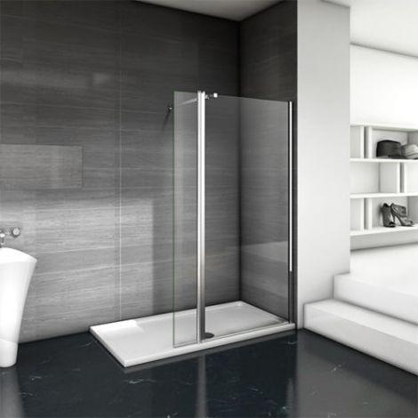 Elegant 700x1850mm Walk-In 6mm Safety Tempered Glass Shower Screen + 300mm Return Panel