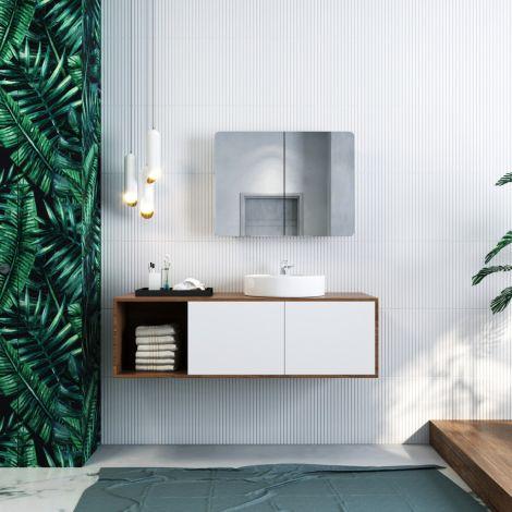 ELEGANT 800x600mm Bathroom Mirror Cabinet Storage Cupboards Stainless Steel Wall Hung 800x600mm