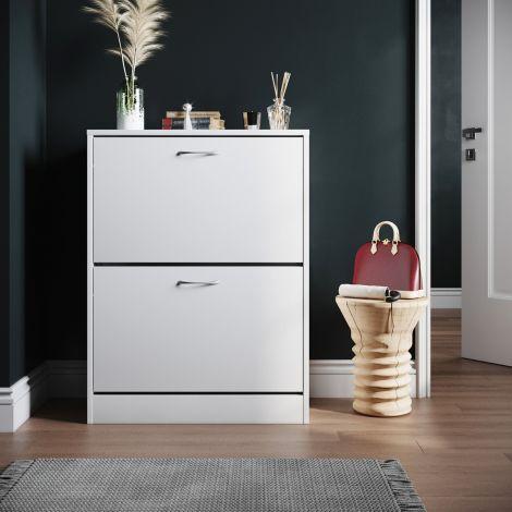 ELEGANT White 2 Drawer Shoe Cabinet Cupboard Shoe Storage Organizer Pull Down Wooden Furniture Unit