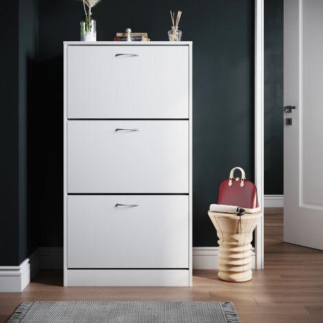 ELEGANT White 3 Drawer Shoe Cabinet Cupboard Shoe Storage Organizer Pull Down Wooden Furniture Unit