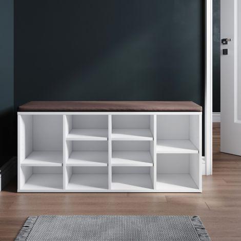ELEGANT Wooden Shoe Bench Storage Shoe Cabinet Rack Hallway Cupboard Organizer with Seat Cushion