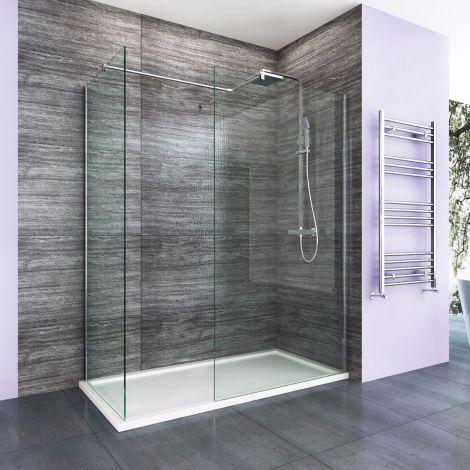 Elegant 1200X800mm Easy Clean Walk-In Shower Enclosure (Inc Shower Panels + Stone Resin Tray + Waste)