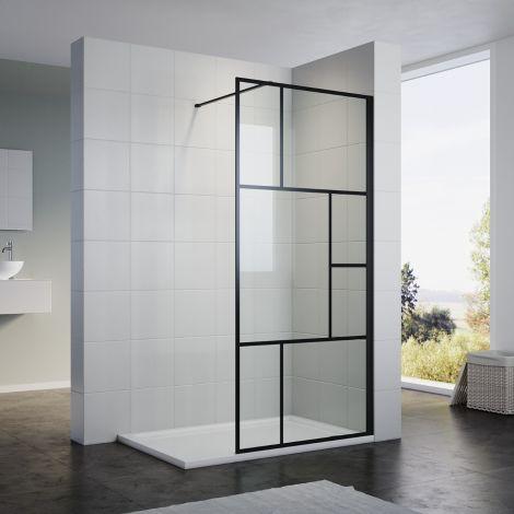 ELEGANT 700x1900mm Walk in Wet Room Shower Enclosure Shower Screen Panel Matt black