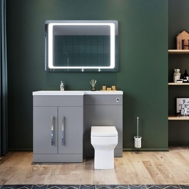 Elegant 1100mm High Gloss Grey Vanity Combine Unit Bathroom Furniture