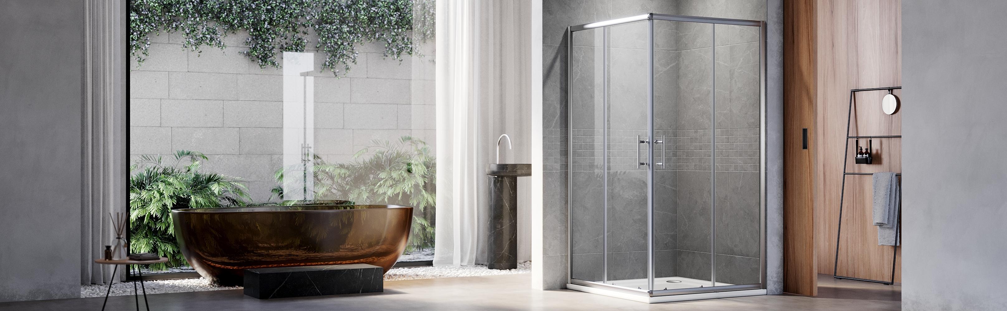 Clear Glass Sliding Shower Doors